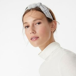 J Crew Bow Headband Ivory Tweed NWT